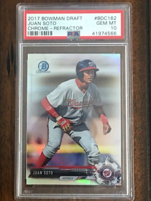 Juan Soto Rookie Nationals Bowman Chrome Refractor Baseball Card PSA 10!!!$235 for Sale in Forest View, IL