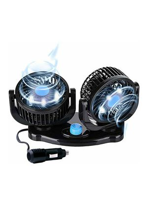 (W46) MAXTUF 12V Car Fan, Dual Head Auto Cooling Air Fan 2 Speed Cooling Air Circulator Low Noise 360 Degree Rotatable for Sale in Industry, CA