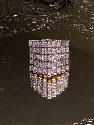 18kt Gold Over 925 Sterling Silver Ring w/ 45 Diamonds 1.00 ctw for Sale in Sterling, VA