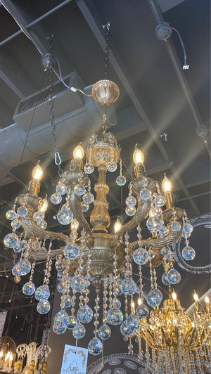 Bronze handmade crystal chandeliers 8 lights for Sale in CORONA DL MAR, CA