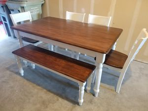 BEAUTIFUL Farmhouse Table, Bench, 4 Chairs for Sale in Portland, OR