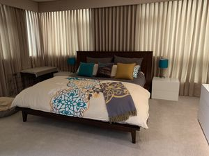 King size duvet, quilt, 4 shams, 3 throw pillows, and throw blanket by Bliss living for Sale in Seattle, WA