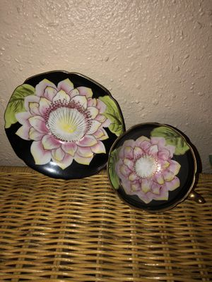 Hand painted saji occupied fancy china cup & saucer for Sale in Portland, OR