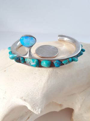$225! Awesome custom turquoise opal ivor bracelet for Sale in Tacoma, WA
