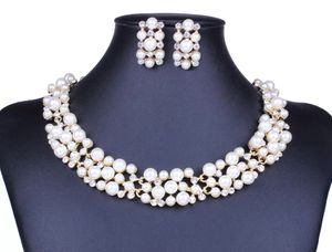 Simulated Pearl and Crystal 18kt Gold Plated Bridal Necklace and Earring Set for Sale in Silver Spring, MD