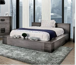 Low profile solid wood grey queen bed frame $579 king $639 for Sale in Buena Park, CA
