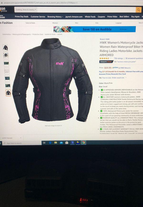 Brand new HWK women's motorcycle jacket waterproof motor riding ladies motorbike jacket size extra extra large
