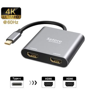 USB C to Dual HDMI Adapter 4K @60hz,Type C to HDMI Converter for MacBook/MacBook Pro 2020/2019/2018,MacBook Air,Chromebook Pixel,LenovoYoga 920/Think for Sale in Bakersfield, CA