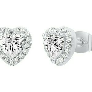 Heart Shaped White Gold Plated Silver Earrings Diamond-Like Design, Gift for Women for Sale in Silverado, CA