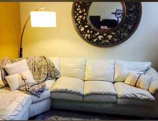 White leather sectional with pullout sleeper bed for Sale in Westerville,  OH