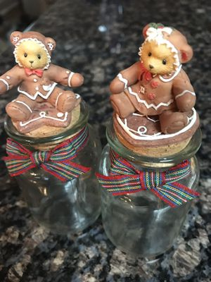 Cherished Teddies Gingerbread Glass Jars - 1998 for Sale in Garland, TX
