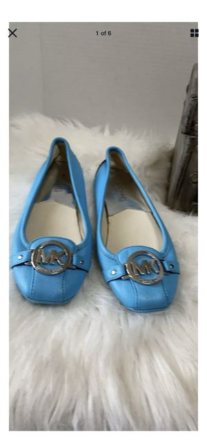 Michael Kors Fulton Loafer Leather Turquoise Flats Shoes 6 M for Sale in Dearborn, MI