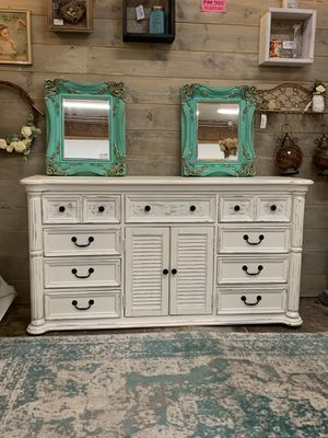 Newly refinished white farmhouse dresser or media console for Sale in Sumner, WA