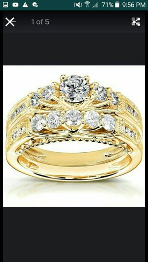 Ladies fashion jewelry Anniversary white engagement white 18 k golden filled set ring size 7 for Sale in Moreno Valley, CA