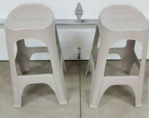 2 Very Sturdy Plastic Bar Stools $28.00 for both. for Sale in Menifee, CA