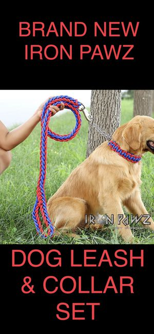 Iron Pawz Heavy Duty Professional Training Dog Leash and Collar Set Red and Blue for Sale in Avondale, AZ