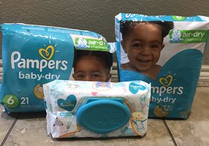 Pampers and wipes size 6 for Sale in Arlington, TX