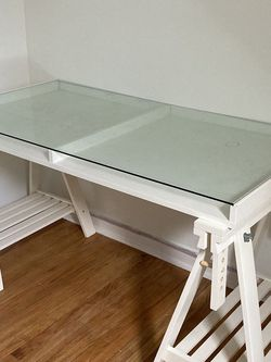 Ikea Sawhorse Desk With Glass Top for Sale in Philadelphia,  PA