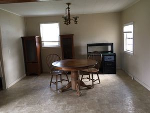 Oak dining room table and two chairs for Sale in Newburg, MO