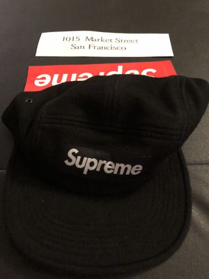 Supreme Camp Cap Black Wool Hat FW19 with opening day sticker for Sale in Los Angeles, CA