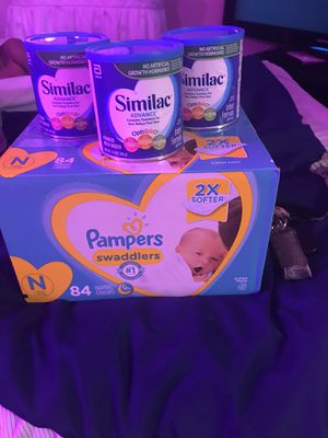 NewBorn Box Of Pampers & Blue Can Similac for Sale in Dallas, TX