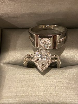 Stamped 925 Sterling Silver Engagement Ring Set- Code H008 for Sale in Dallas, TX