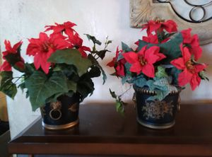Two faux holiday plants pots made in France for Sale in Land O Lakes, FL