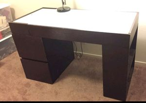 Glass-topped cherry wood desk for Sale in Modesto, CA