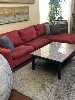 Red Suede Sectional Pull Out Couch for Sale in Scottsdale,  AZ