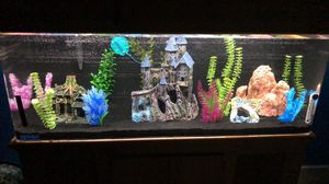 55 Gallon Acrylic Aquarium with 75 gallon filter, food, medicine, airpump, and decorations for Sale in Vallejo, CA