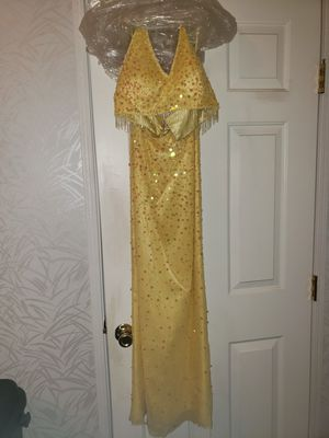 Yellow beaded prom dress for Sale in Dublin, GA