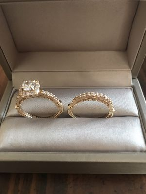 18K gold plated sapphire stone and stimulated diamonds two piece set wedding engagement ring for Sale in Wood Dale, IL