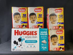 4 packd Huggies Size 6 & big box 704 wipes for Sale in Melvindale, MI