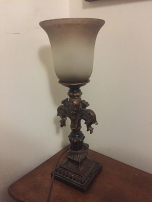 Nice heavy lamp with glass shade very sturdy for Sale in Portland, OR