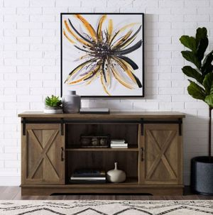 58 inch Sliding Barn Door TV Stand Media Console in rustic oak for Sale in Houston, TX