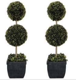 """2 LED 2-Ball Topiary indoor outdoor light up in Fiberglass Pot, (35"""") for Sale in The Colony,  TX"""