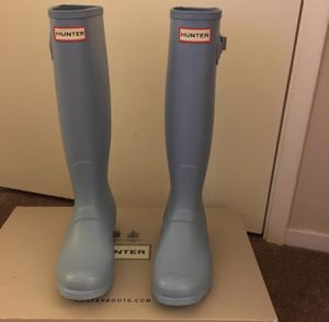 100% Authentic Brand New in Box Hunter Original Tall Rain Boots / Color Pale Blue / Women size 8 for Sale in Walnut Creek, CA