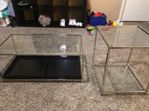 Ikea shelfs,70 coffee tables100, coffee table has two small matching end tables for Sale in Dallas, TX