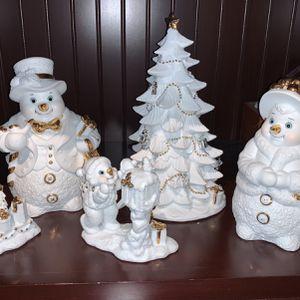 Grandeur Noel 2000 Collector Series porcelain snowman Family figurines set for Sale in North Tustin, CA