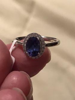 18k Tanzanite Diamond Halo Ring for Sale in Mendon,  MA