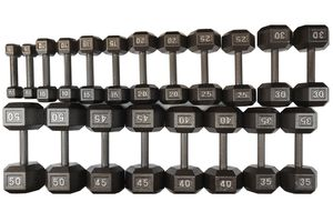 NEW Dumbbells 5-50 (no 15s) Set Hex Cast Iron for Sale in Bellmawr, NJ