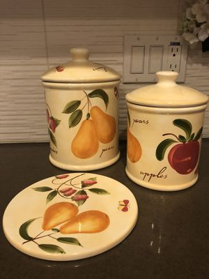 Fruit Design Ceramic Canisters with Spoon Rest for Sale in Los Angeles, CA
