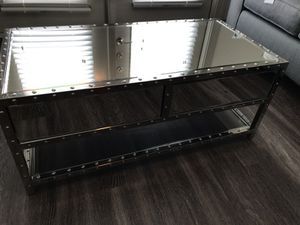Beautiful Glass & Metal Nail Head Coffee Table - Some Defects for Sale in Nashville, TN