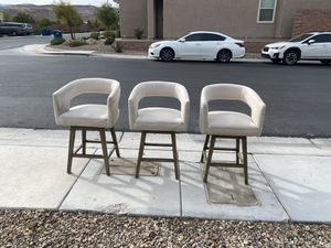 Set of 3 Barstools Beige/Cream for Sale in Las Vegas, NV