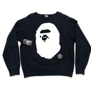 Early 2000s Bape A Bathing Ape Big Ape Head Crewneck Sweater Medium Black White for Sale in Tracy, CA