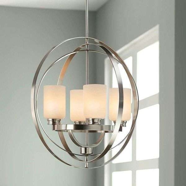 Home Decorators Collection 24 in. 4-Light Brushed Nickel Chandelier with Etched White Glass Shades