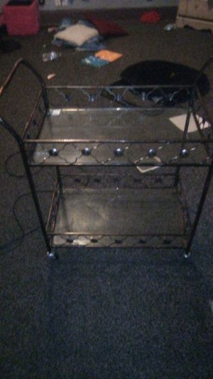 Metal cart with glass shelf for Sale in Indianapolis, IN