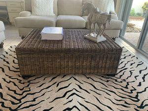Brown wicker coffee table with storage Paid $500 for Sale in Boca Raton, FL