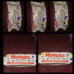 ●PICK UP BELL GARDENS● 5 PACKS FOR $10 HUGGIES FRAGRANCE FREE WIPES 64 COUNT for Sale in Bell Gardens, CA