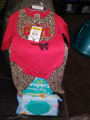 Diapers wipes and baby outfit for Sale in Laurel, MD